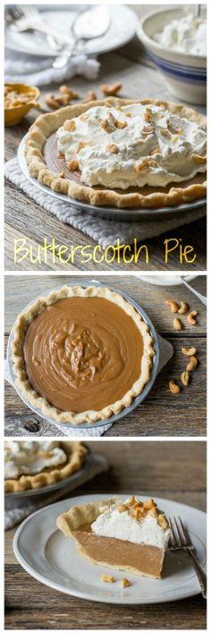 Old Fashioned Butterscotch Pie | www.savingdessert.com Butterscotch Pie, Baked Pie Crust, Pie In The Sky, Boulangerie Patisserie, Sweet Pie, Tart Recipes, Cooking Recipes, Pie Dessert, Dessert Recipes