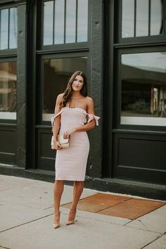 fa7bde2a3f457 Pink off the shoulder midi dress+nude pumps+golden clutch. Summer Semi  Formal