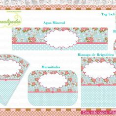 Kit Festa Floral no Elo7 | Marla Personalizados (2BC225) Shabby Chic, Pot Holders, Floral, Scrapbook, Water Art, Mint To Be, House Party, Invitation Birthday, Hot Pads
