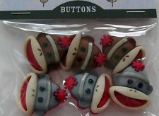 """Sewing Notions  """" BROWN / GREY SOCK MONKEY BUTTONS  """"  6 Pieces Red"""