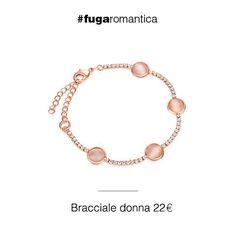 Bracciale in metallo con pietra occhio di gatto rosa pesca e bagno in oro rosa Luca Barra Gioielli. #bracciale #collezionedonna #lucabarragioielli #tendenzemoda