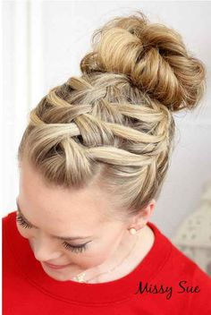 So cute 3 way braid into bun!!