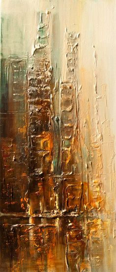 ORIGINAL Downtown Painting Modern Acrylic Palette by OsnatFineArt