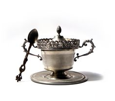 Antique sugar bowl   Pewter sugar bowl  by millyscollection