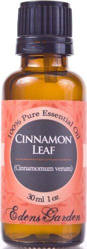 Cinnamon Leaf 100% Pure Therapeutic Grade Essential Oil- 30 ml by Edens Garden. Save 60 Off!. $5.75. * Botanical Name: Cinnamomum verum * Plant Part: Leaves * Extraction Method: Steam Distillation * Origin: France * Description: The cinnamon tree is an evergreen native to China and Vietnam that has since been cultivated in many other regions. It has shiny, leathery green leaves, and small, white flowers with oval shaped purple berries. * Color: Golden Brown * Common Uses: Ci...