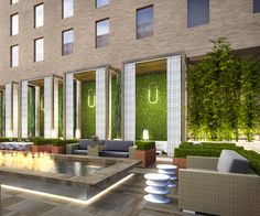 The perspective pool rendering at the Sheraton in Downtown LA design by Exterior Rendering, Interior Exterior, Modern Landscaping, Backyard Landscaping, Vertical Planting, Downtown Hotels, Sanya, Interior Lighting, Interiores Design