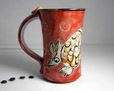 Majolica Pottery Clay Coffee Mug Brown by ClayLickCreekPottery,