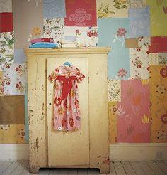 old wallpaper scraps patchwork