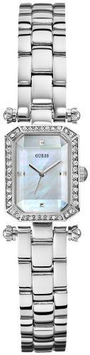 Guess Women's U0107L1 Silver Rectangular Watch GUESS. $86.77. analog function. Womens jewelry. watch. mother of pearl dial. water resistant. Save 25%!