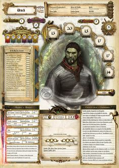 These custom Dungeons & Dragons character sheets are a work of art Dungeons And Dragons Classes, Dungeons And Dragons Characters, Dungeons And Dragons Homebrew, D D Characters, Fantasy Characters, Rpg Character Sheet, Character Sheet Template, Character Creation, Character Design