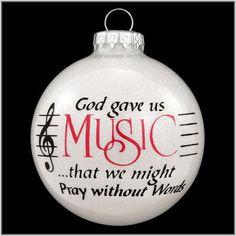 God Gave Us Music Sparkle Glass Ornament