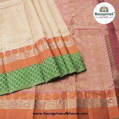 Buy stylish latest party wear #silk sarees at #Hayagrivassilkhouse Here is an elegant beige silksarees along with floral #Orange and #green motif looks like amazing.  #Silksarees #Partywearsilksarees #Weddingsilks #Beigecolorsilksarees Buy this elegant silk sarees @ https://www.hayagrivassilkhouse.com/saris/1379.html Call us: 91 9840582892