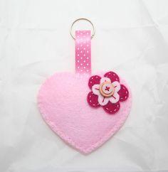 Baby Pink Heart Felt Keyring or Bag Charm - The Supermums Craft Fair Diy Keyring, Felt Keyring, Christmas Hearts, Christmas Ornament, Angel Crafts, Felt Patterns, Penny Rugs, Polymer Clay Projects, Felt Hearts