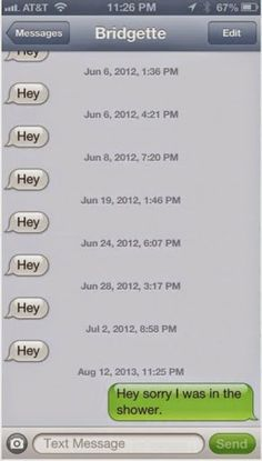Funny Hey Shower SMS Text Message-daaamn for 2 mnths