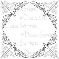 Fanciful Dragonfly Digi Digital Stamp by crookedlittlestudio