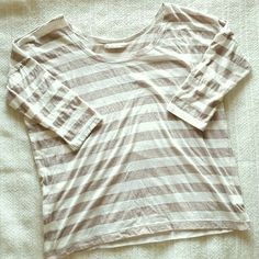 Striped cotton shirt 3/4 cotton scoop neck shirt. Size large but I wear a size small /medium and like the feel of a bagger shirt sometimes. A light brown/tan and white stripped. *price is firm. You can bundle for a discount. Forever 21 Tops Tees - Short Sleeve