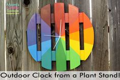 Colorful Outdoor Clock (from a plant stand!) from Mom's Crafty Space