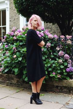 We The People / Cos pleated dress / Pink Hair / Black ankle boots / Great style