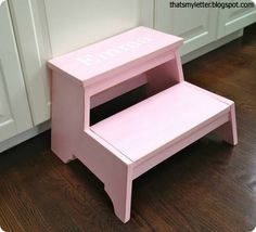 Personalized PBK inspired kids step stool made following plans by Ana White