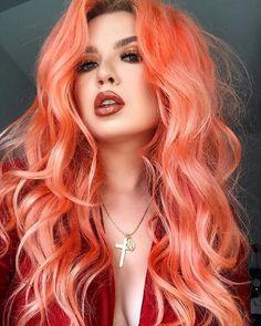 Neon peach hair color (clean vibrant peach) in 2019 Peach Hair Colors, Coral Hair, Peachy Pink Hair, Pastel Pink, Pastel Hair Colors, Peach Hair Dye, Funky Hair Colors, Turquoise Hair, Violet Hair