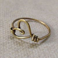 Heart Ring, simple, casual, red brass wire, texture, hammered, oxidized