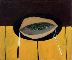 William Scott, [Plate with Knife and Fork], 1949 or 1950, Oil on canvas, 50.8 × 61.2 cm / 20 × 24 in, Private collection
