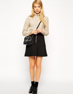 ASOS A-Line Skirt in Scuba with Zip Front