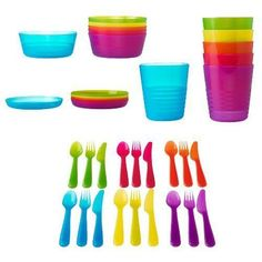 IKEA-KALAS-MULTI-COLORED-PLASTIC-WARE-FOR-CHILDREN-KIDS-AND-BPA-FREE-MW-DW-SAFE