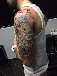 Tattoos for men ⋆ map tattoos, circle tattoos, cool arm ta Cool Arm Tattoos, Arm Sleeve Tattoos, Tattoo Sleeve Designs, Arm Tattoos For Guys, Ship Tattoo Sleeves, Tatoos, Modern Tattoos, Unique Tattoos, Small Tattoos