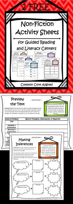 "FREEBIE!!! Common Core Non-Fiction Activity Sheets.  Perfect for Literacy Centers or Guided Reading Groups.  Covers ""Previewing a Text"" and ""Making Inferences"".  All you have to do is pair it with your favorite Non-fiction Text, and you are DONE!"