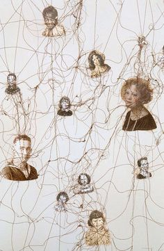 This photo links to 'together' theme because the photos of different people are interconnected by entangled threads suggesting an idea of connection among different generations within a family.