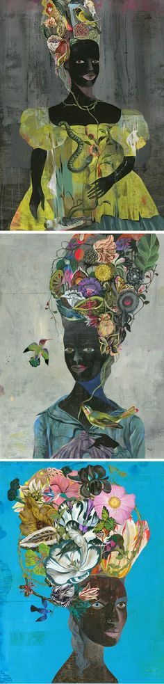 Black Antoinette by Olaf Hajek | contemporary illustration | nature-inspired art | illustrated ladies | painted portraits