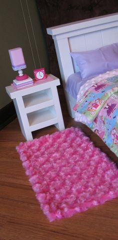 "Bedroom Accessories For American Girl / 18"" Doll - Nightstand / Runner / Lamp…"