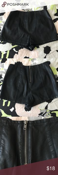 Urban Outfitters faux leather high waisted shorts I hate letting these go! Faux leather high waisted shorts with back zipper detail. Purchased at Urban Outfitters. Size 26. Only worn once for a concert. Have to let these go because I just had a baby! Urban Outfitters Shorts