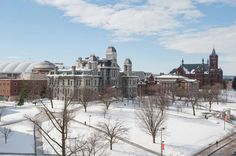 Syracuse University, founded in 1870 and comprised of thirteen schools and colleges, is a private research university in the heart of New York State. Syracuse University, Upstate New York, Great Memories, I School, Journey, Snow, World, Winter, Places