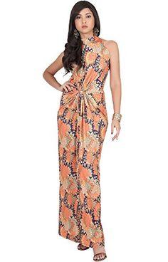 52625807e0369 Cheap KOH KOH Petite Womens Long Sleeveless Sexy Summer Boho Bohemian  Sundress Sun Sundresses Print Printed Halter Neck Casual Gown Gowns Maxi  Dress Dresses ...