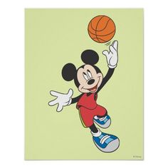 Mickey Mouse Basketball Player 5 Poster by Disney via Zazzle.