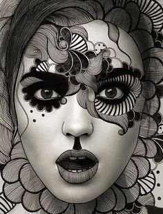 black and white drawing mixed with photography - Awesome! ~ Working over magazine photos would be a good exercise in contoured drawing and organic textures on a day when we need a fast art project. Arte Punch, Art Visage, Arte Fashion, Drawn Art, Hand Drawn, Maquillage Halloween, Halloween Makeup, Inspiration Art, Art Plastique