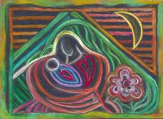 MOTHER AND BABY Abstract Original Art Oil by NonisEclecticShop, $30.00 #originalart, #oilpastel, #motherandbaby, #mothersdaygift, #giftidea, #giftformom, #love, #baby, #motherslove, #colorfulart, #ooak, #original, #flowers, #artbyartist, #abstractart