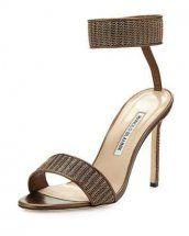 Manolo Blahnik Roccmet Chain Ankle-Wrap Sandal Bronze