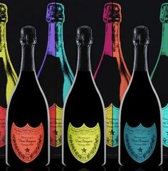 Colorful limited edition Dom Pérignon bottles, paying homage to the great American artist, Andy Warhol