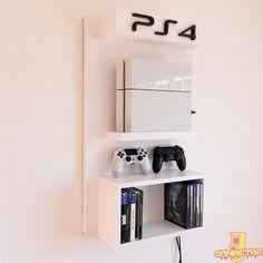 Gamer Room wall bracket with gaming shelf # decoracioncuartoniña - - Ideas of # # pl Boys Game Room, Boy Room, Bedroom Setup, Room Ideas Bedroom, Ps4 Wall Mount, Small Game Rooms, Video Game Rooms, Gaming Room Setup, Game Room Design