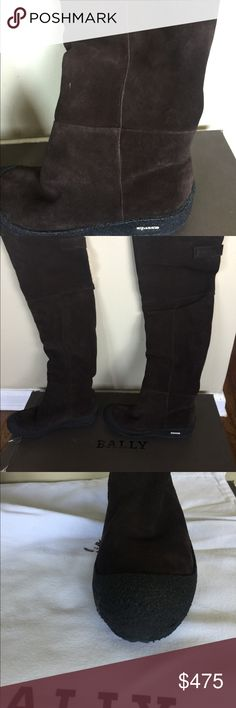Bally over the knee boots. Beautiful boots. Shearling lining throughout the whole boot . Very warm and comfortable . One of a kind . Short wedge. You can wear them with a part of shearling showing . European size in the box is 39, us 8.5. They run bigger and fit us size 9. The shoes are brown , but the picture of ten in blue just gives them more justice . They are truly beautiful ! Bally Shoes Over the Knee Boots
