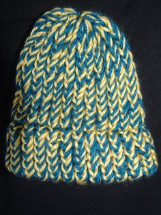 Royal Blue and Yellow Knitted Baby Boy Hat with Brim