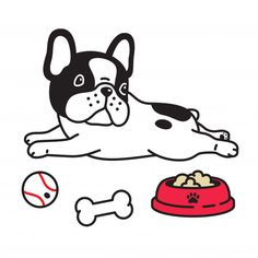 Dog vector french bulldog puppy food bowl ball bone cartoon Premium Vector White French Bulldogs, French Bulldog Art, French Bulldog Puppies, Bulldog Drawing, Pet Dogs, Dog Cat, Karten Diy, Animal Graphic, Dog Vector