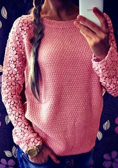 Crochet Lace Sleeve Sweater- With Round Neckline