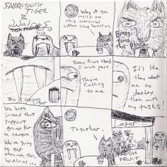 Sabretooth Tiger and Walrus -- tusk friends to the end
