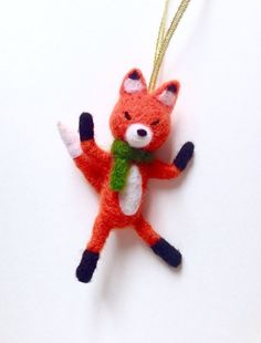 Mr Fox Needle Felted Christmas Hanging Ornaments by HappyFeltx