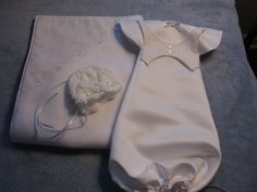 Baby boy drawstring vest angel gown and matching blanket with knitted cap for 1 lb baby. CaringHandsForAngels.com Rochester, NY