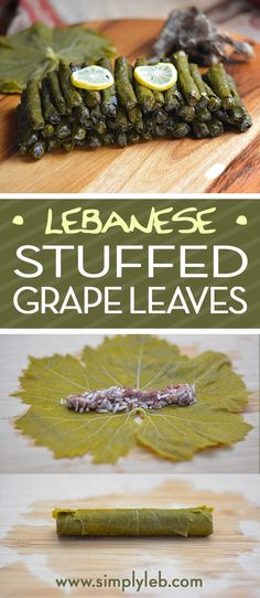 """Stuffed grape leaves known as """"Warak Enab"""" in Arabic, is a Lebanese dish of spiced rice and beef rolled in grape leaves and simmered in a Lemony broth. Lebanese Recipes, Greek Recipes, Mexican Food Recipes, Whole Food Recipes, Lebanese Cuisine, Syrian Recipes, Snack Recipes, Dessert Recipes, Arabic Food"""